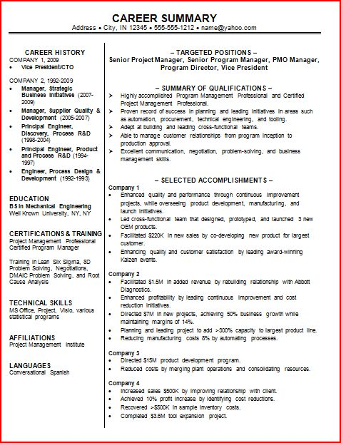 Sample Professional Resumes